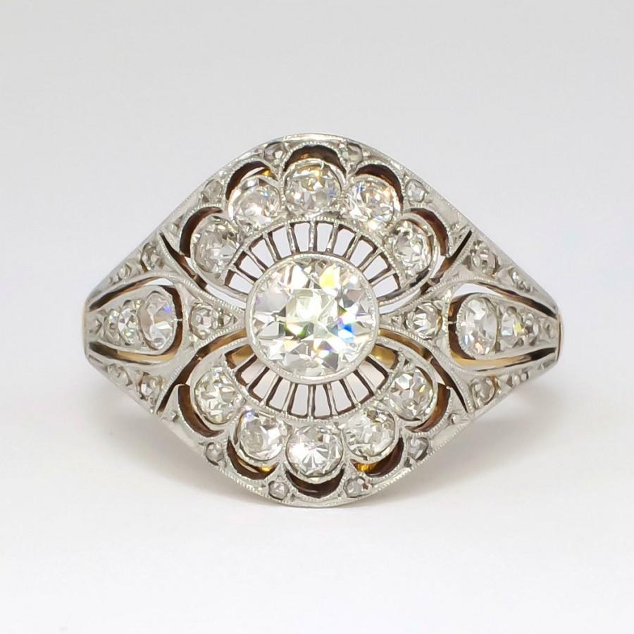 Rare Russian Antique 1 41ct T W 1900 S Lacey Old European Cut Diamond Ring 18k Sterling Silver