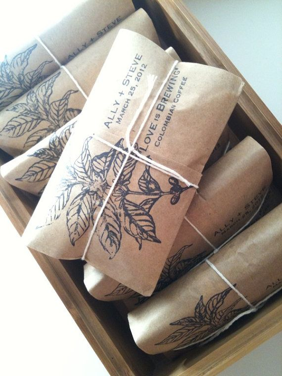 Coffee Wedding Favors Set Of 50 Freshly Roasted With Custom Rubber Stamp By Apropos Roasters