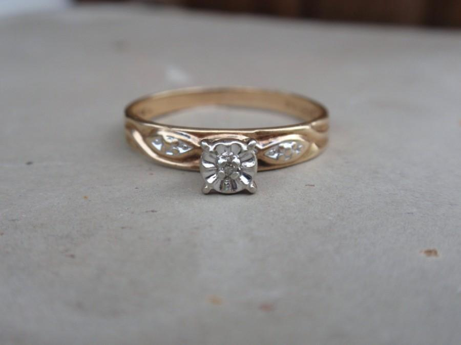 Vintage Diamond Engagement Ring Two Tone 10k Las Yellow Gold