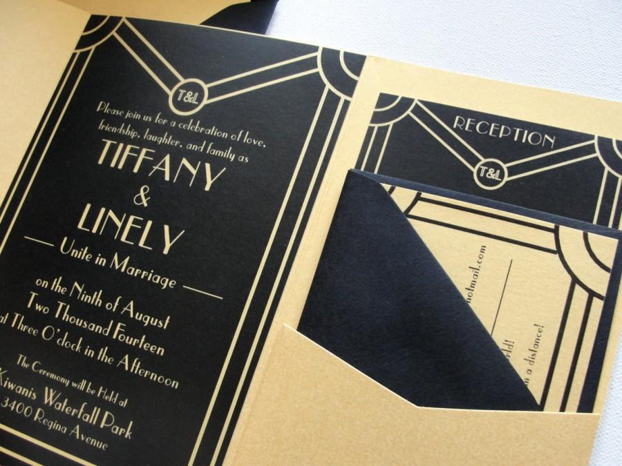 Deco Scroll Shimmer Silver Or Gold Pocket Fold Wedding Invitation Set Envelopes Art Gatsby Finish