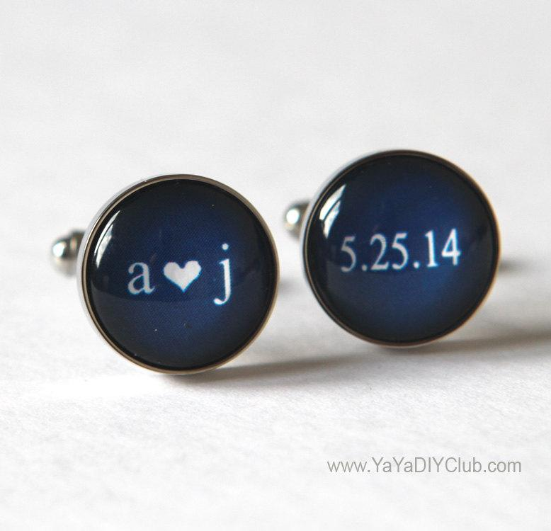 Keepsake Wedding Gift For Groom Navy Blue Cufflinks Unique Personalized Cuff Links