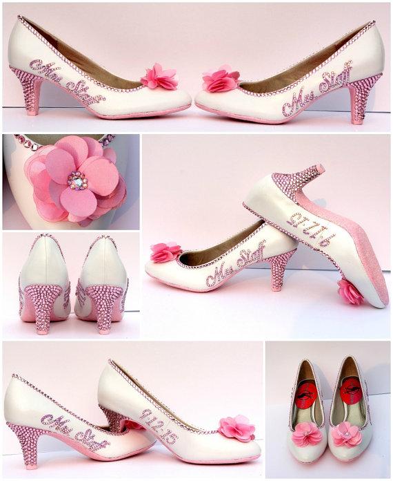 Light Pink Bridal Shoes Bride S Name Wedding Date Personalized Swarovski Pumps Fabric Flower Heels