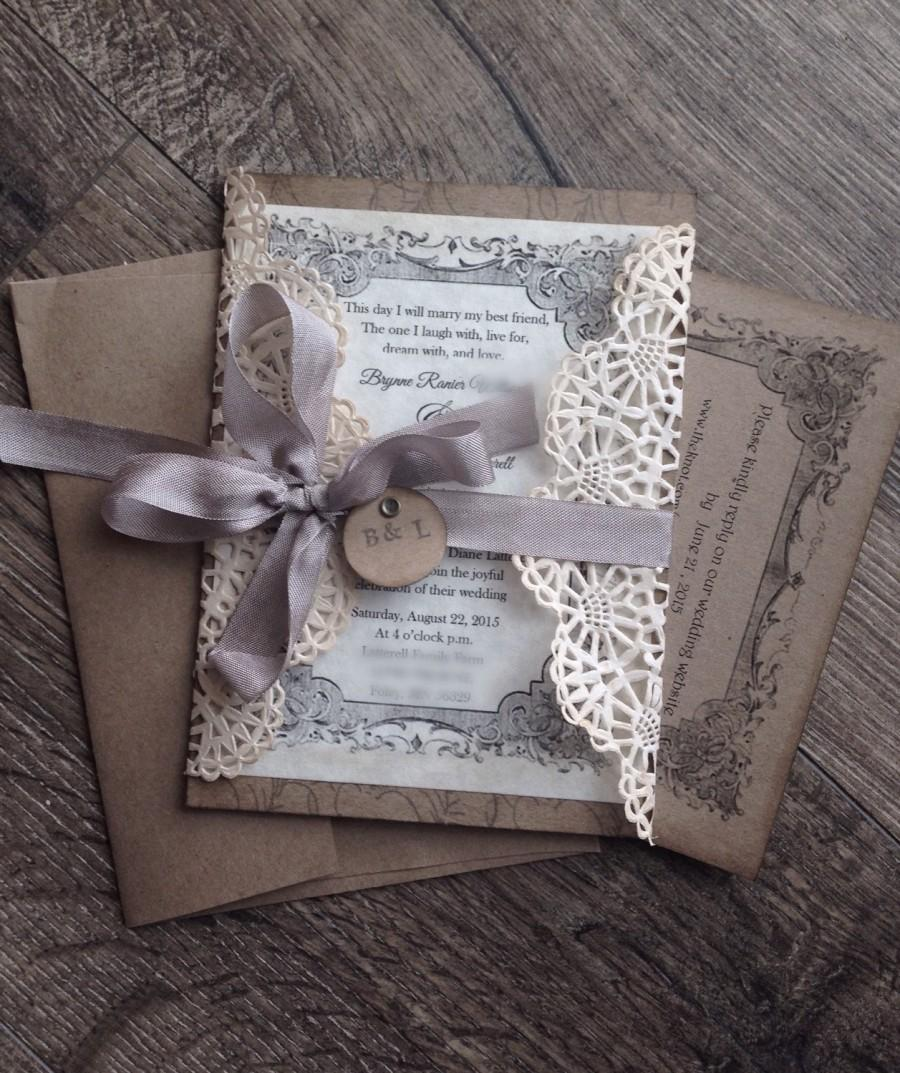 Rustic Gray Lace Wedding Invitation Sample Invite And Shabby Chic Anna