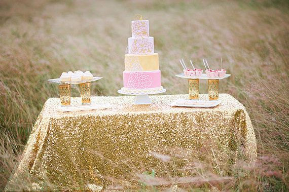 90x132 Gold Champagne Sequin Table Cloth 6 Foot Rectangle Light Whole Cloths Sparkly Linens