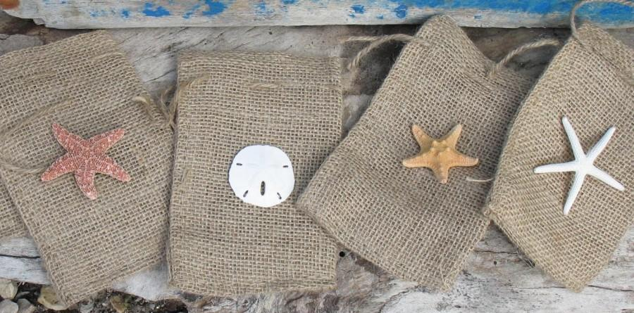 Beach Weddings Burlap Favor Bag With Sand Dollar Starfish Or Shells Many Options Avail
