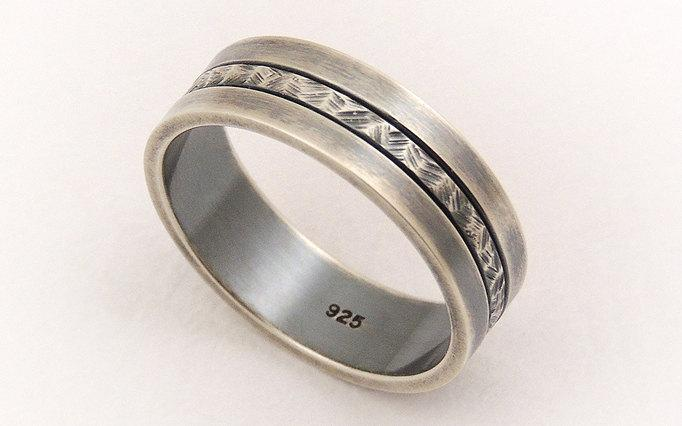Men S Wedding Band Ring Sterling Silver Unique Thumb Man