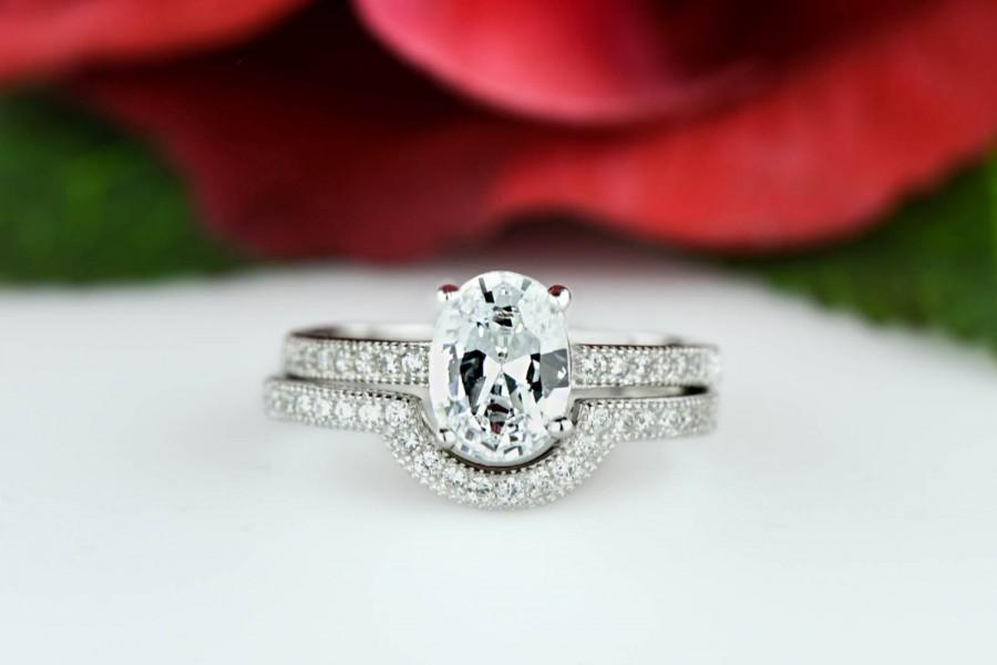 1 5 Ctw Oval Engagement Ring Wedding Band Pave Set Flawless Man Made Diamond Simulants Bridal Sterling Silver