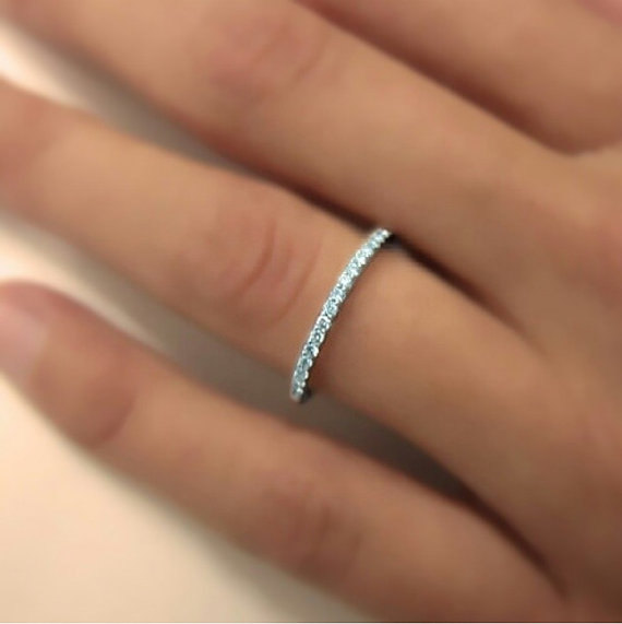 14k Gold Full Round Ring Micro Pave With Swarovski Stone Wedding Band Engagement Thin Christmas Gift