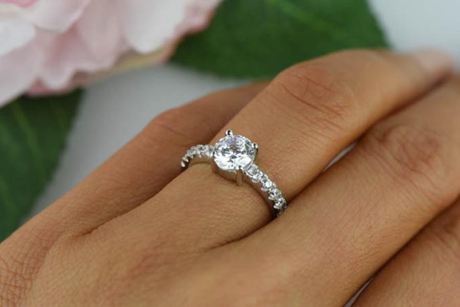 1 25 Ctw Solitaire Ring Half Eternity Engagement Man Made Diamond Simulants Promise Wedding Sterling Silver Bridal