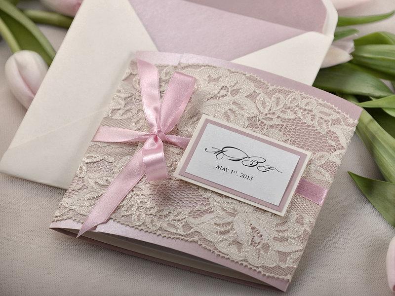 Custom Listing 20 Patel Pink Ecru Lace Wedding Invitation Pocket Fold Invitations Vintage