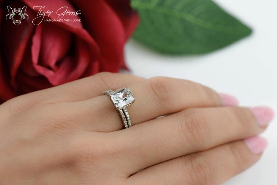 2 Ctw Radiant Cut Accented Solitaire Wedding Set Half Eternity Bridal Rings Man Made Diamond Simulants Engagement Ring Sterling Silver