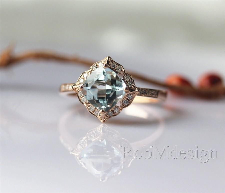 Very best 14k Rose Gold Ring Stackable March's Birthstone Aquamarine Ring  HY73