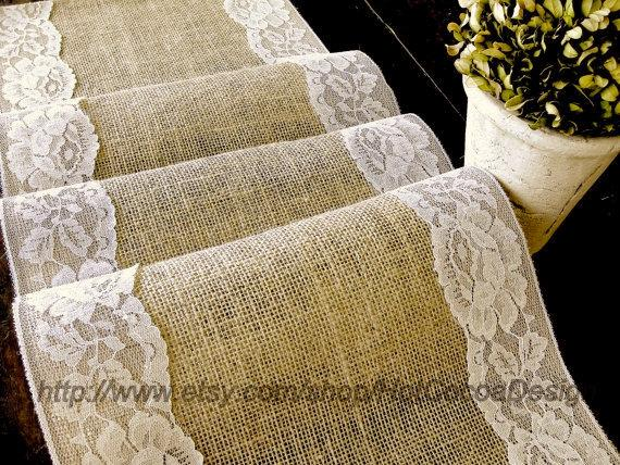Burlap And Lace Wedding Rustic Table