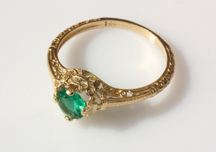 Vintage Emerald Engagement Ring 14k Yellow Gold Natural Emerald