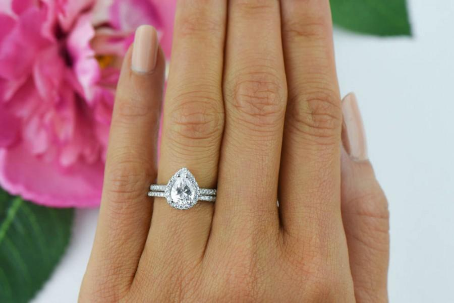 1 5 Ctw Clic Pear Halo Engagement Ring Wedding Set Man Made Diamond Simulants Half Eternity Sterling Silver Anniversary