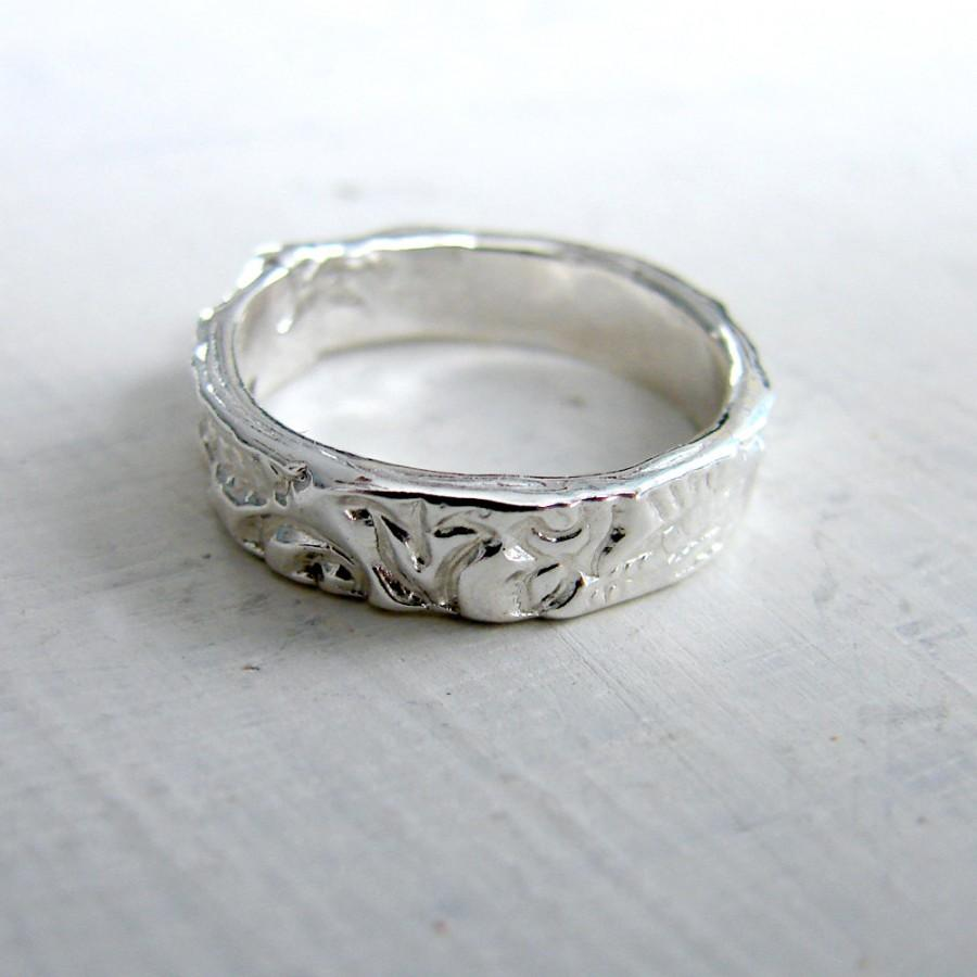 4mm Sterling Silver Wedding Band Rustic Mountain Ring Lace Delicate Simple