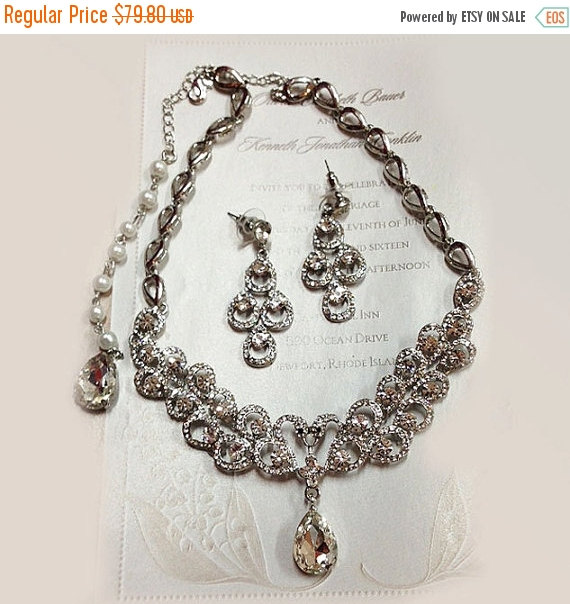 Wedding Jewelry Set Bridal Necklace Backdrop Earrings Vintage Inspired Pearl Statement Crystal
