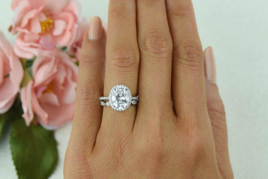 3 25 Ctw Vintage Style Wedding Set Bridal Halo Ring Man Made Diamond Simulants Art Deco Oval Engagement Sterling Silver