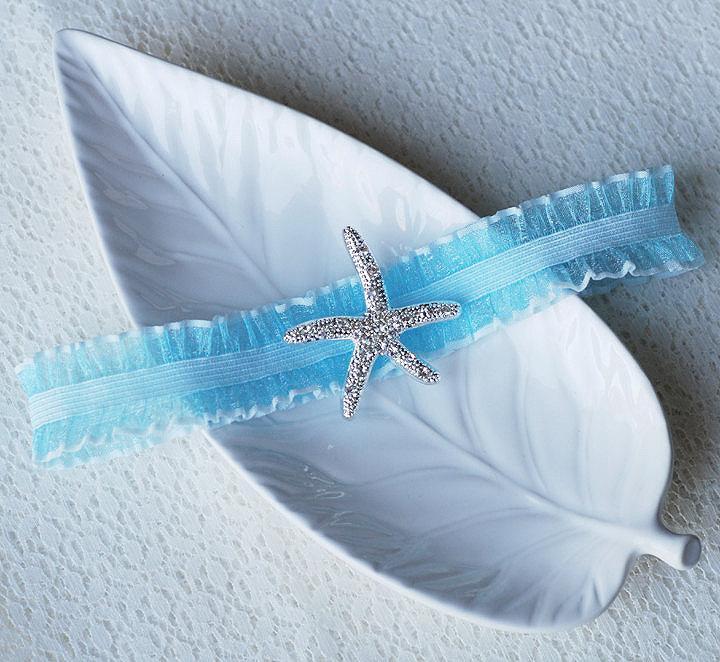 Wedding Garter Bridal Turquoise Blue Set Lace Rhinestone Crystal Starfish Beach Gr022lx