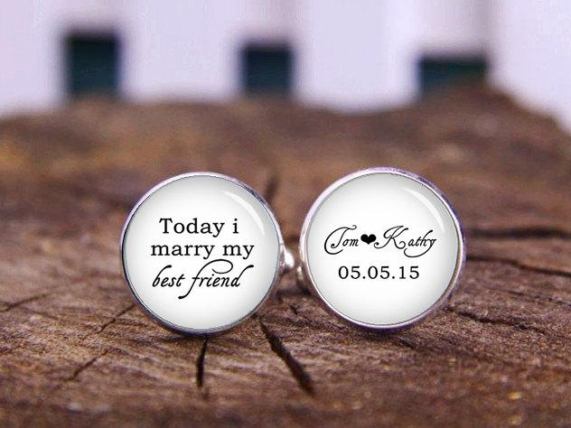 Today I Marry My Best Friend Personalized Cufflinks Custom Name Date Any Text Wedding Groom Gifts