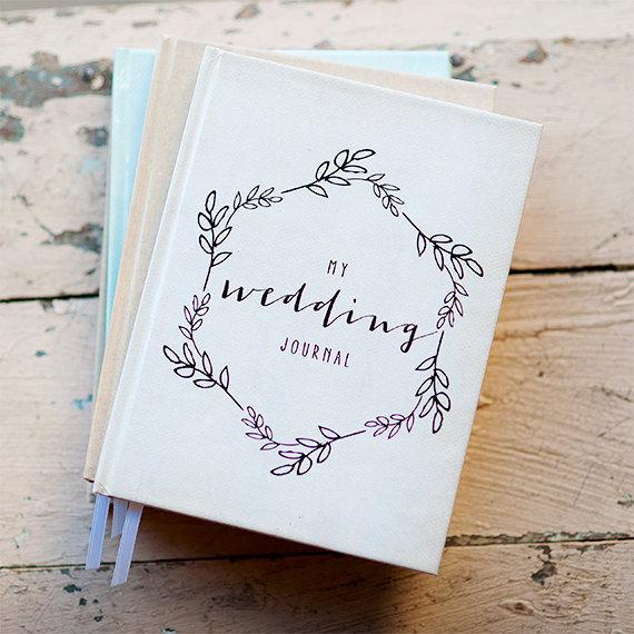 Wedding Journal Notebook Planner Personalized Customized Bridal Shower Guest Book Custom Design Calligraphy Keepsake