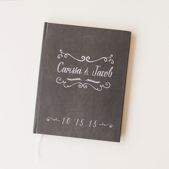 Chalkboard Wedding Guest Book Guestbook Personalized Chalk Board Engagement Gift Bridal Shower Sign In Rustic
