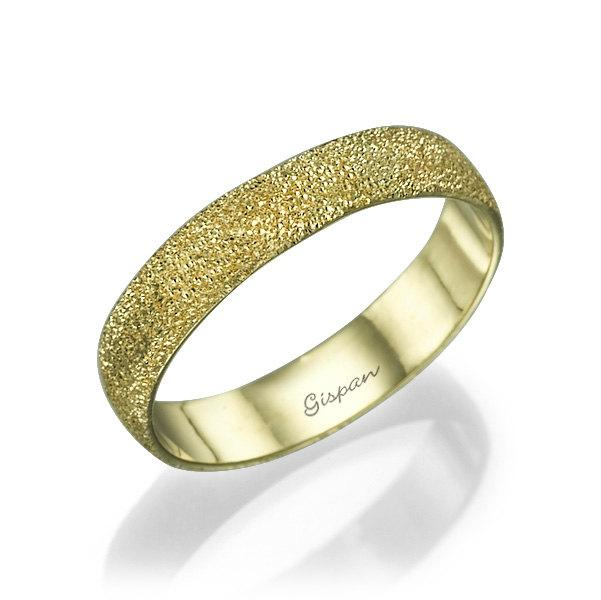 Unique Wedding Ring 14k Yellow Gold Glitter Band Texture Woman