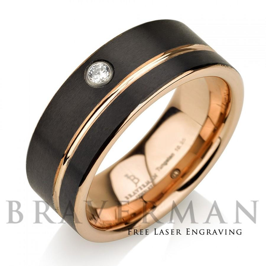 Black Tungsten Wedding Band 14k Rose Gold White Diamond Mens Stripe Comfort Fit 9mm Bands