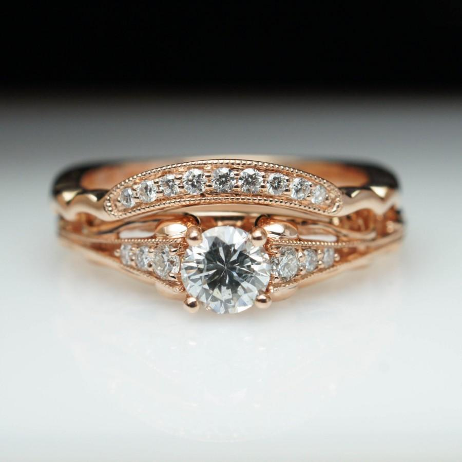 Vintage Antique Style Diamond Engagement Ring Matching Wedding Band 14k Rose Gold Intricate Ornate Bridal
