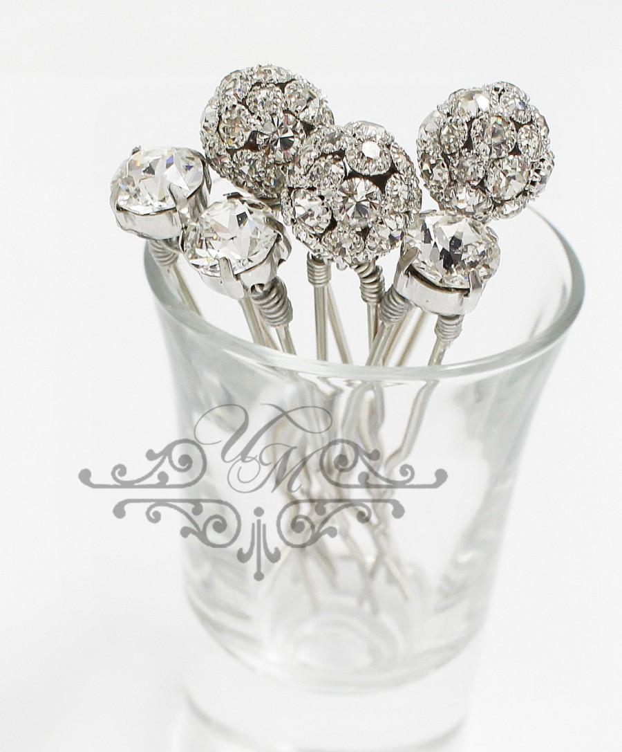 set of 6 swarovski crystal hair pins czech crystal ball hair pins
