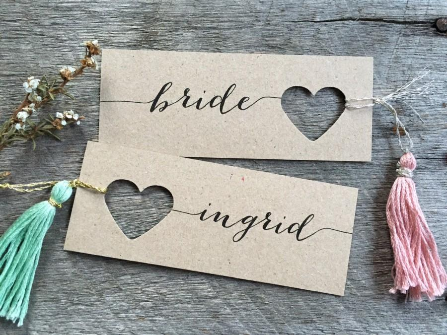 Wedding Place Cards Heart Name Tags Personalised