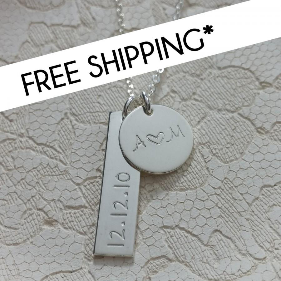 Date Initial Necklace Bar Charm Bride Wedding Shower Gifts Bachelorette Personalized Anniversary Love