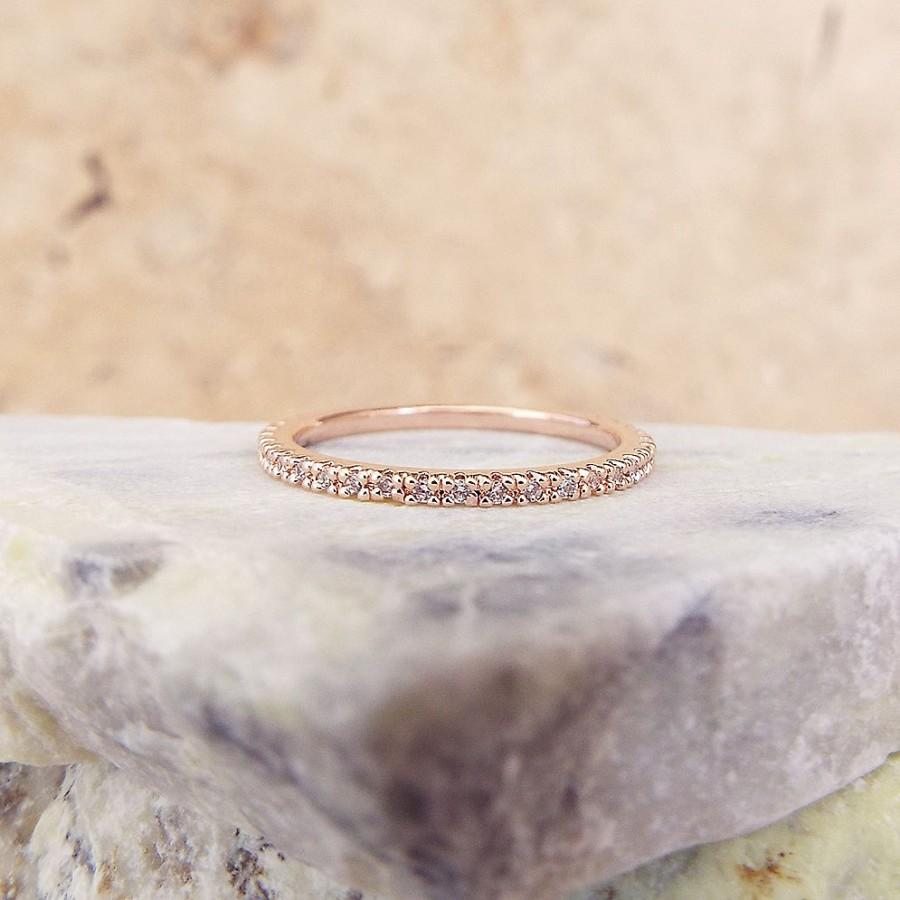 1 Mm Rose Gold Full Eternity Band High Quality Cz Diamond Ring Stacking Micro Pave Ultra Thin Wedding Anniversary