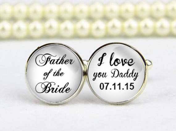 Father Of The Bride Cufflinks Custom Wedding I Love Daddy Mens S Day Gifts Groom Cufflink