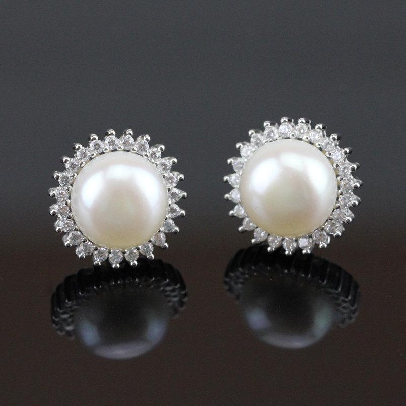 Bridal Pearl Earings Crystal Earrings Wedding Flower Stud Rhinestone And Earing Silver
