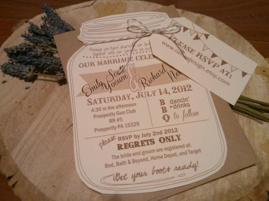 Mason Jar Wedding Invitations With Rvsp Luggage Tag And Bakers Twine Bow Kraft Envelope
