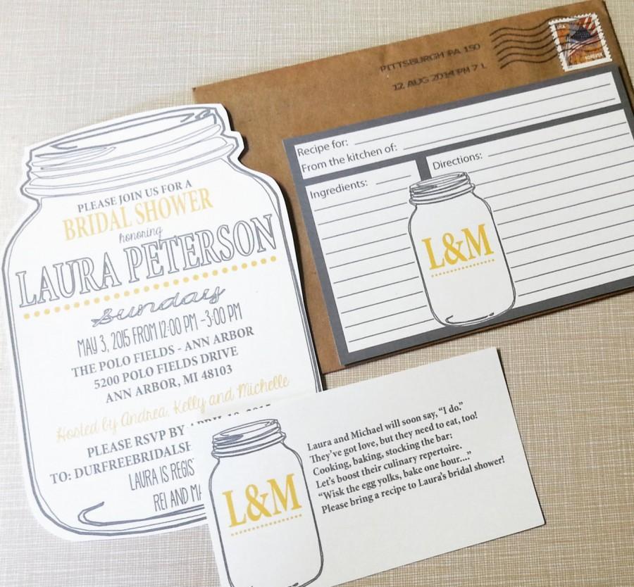 Mason Jar Bridal Shower Invitations And Recipe Cards