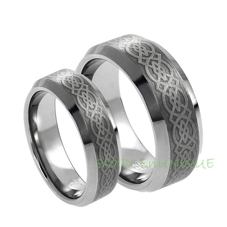 Ring Matching Wedding Bands Celtic Rings Sets Tungsten Band His And Hers Set
