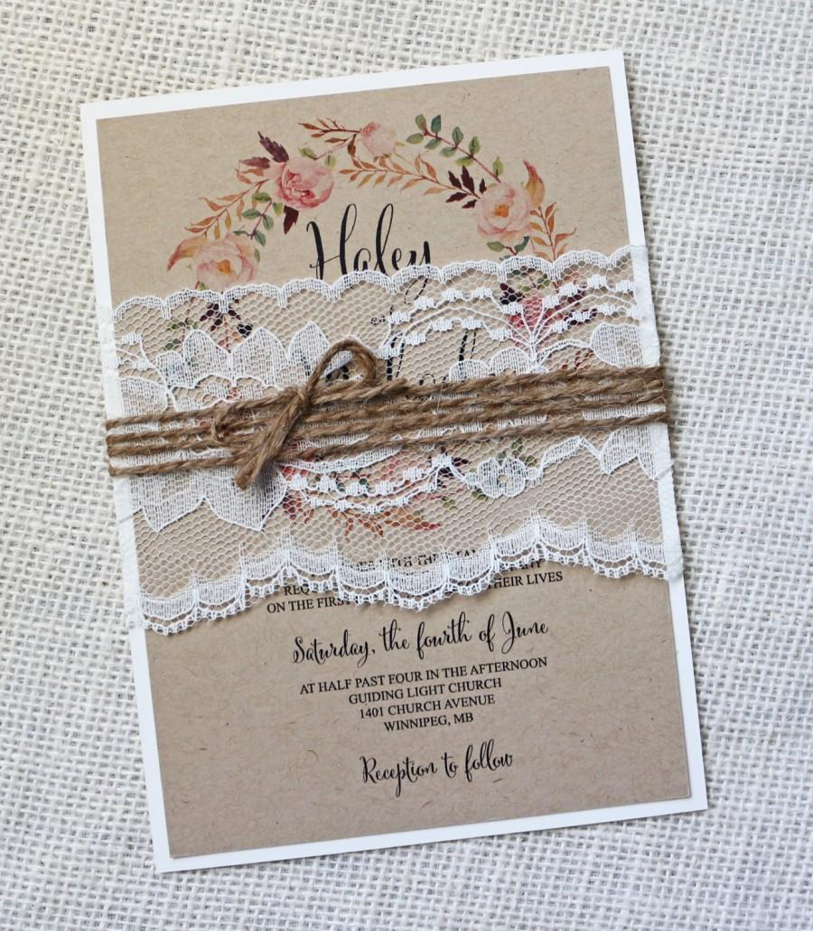 Rustic Wedding Invitation Lace Vintage Shabby Chic Kraft