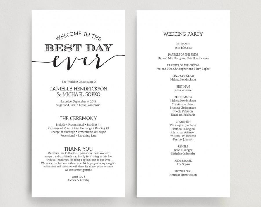 Wedding Programs Program Instant Printable Template Pdf Kraft