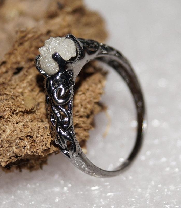 Rough Diamond Ring Uncut Raw Wedding Rustic Natural White 925 Sterling Silver