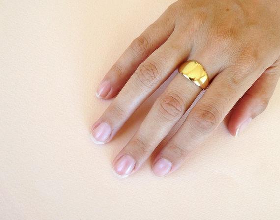 Wide Extended Gold Band 18 14 Karat Gold Ring Solid 18k 14 Gold