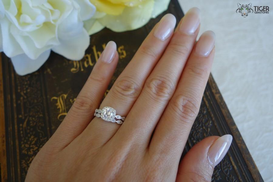 3 4 Ctw Halo Wedding Ring Bridal Set Man Made Diamond Simulants Art Deco Engagement Promise Sterling Silver