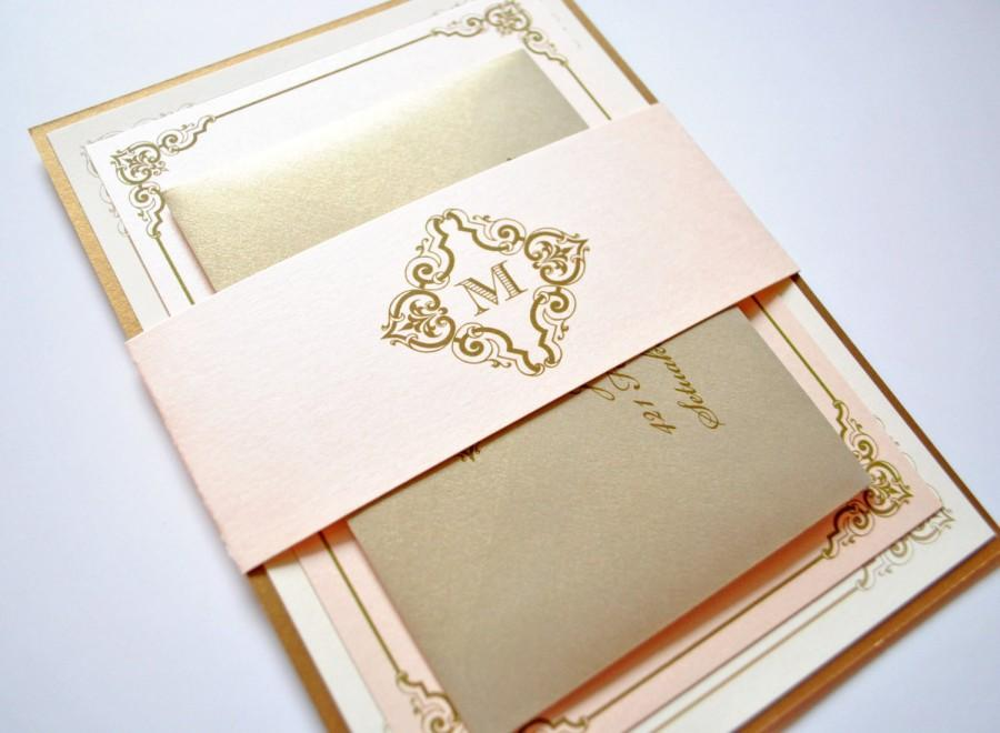 Blush And Gold Wedding Invitations Champagne Pink Victorian Elegant Vintage