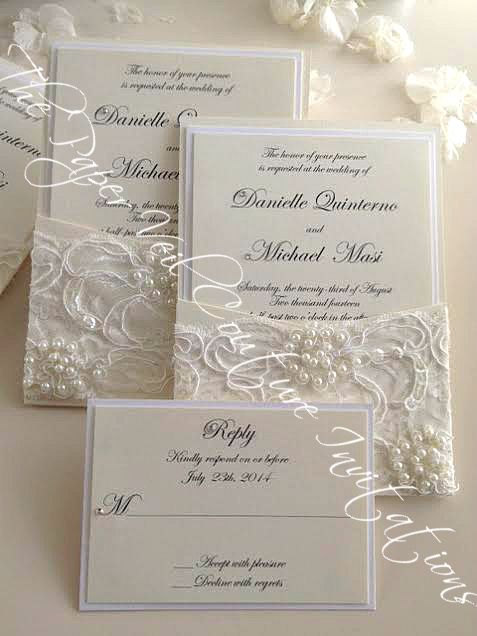 Gia Vintage Pearl And Sequin Lace Couture Panel Pocket Wedding Invitation W Rsvp Card Cream Ivory