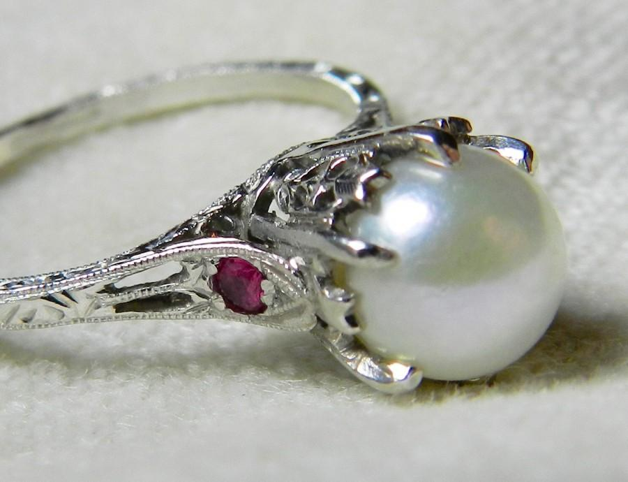 Popular Platinum Pearl Engagement Ring Unique Engagement Genuine Pearl  JQ32