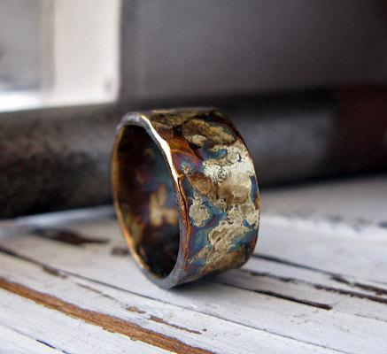 Rustic Mens Wedding Band Oxidized Sterling Silver And Yellow Gold 10mm Hammered Texture Ring Or Commitment