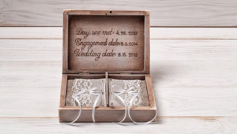 Ring Bearer Box Wedding Personalized Rustic Vintage Holder Pillow Custom Wood Wooden Rj 2