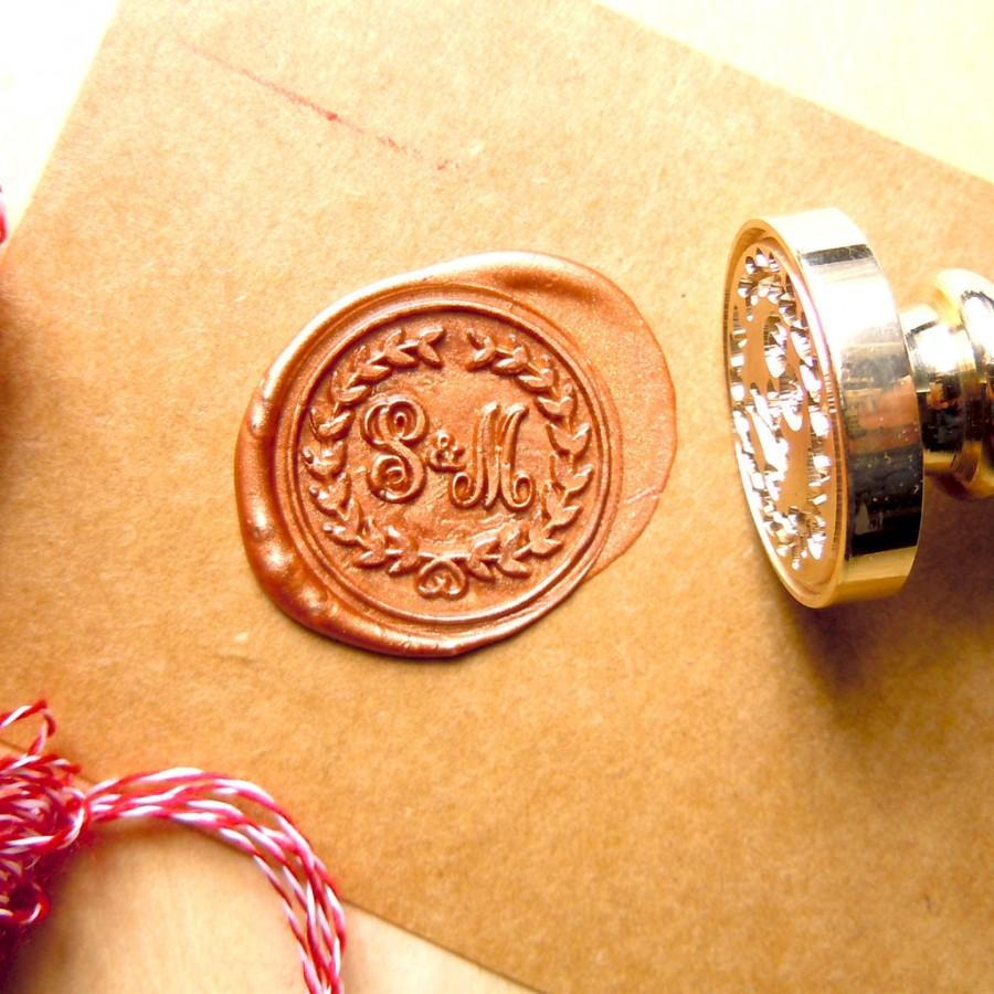 Wax Seal Stamp Monogram Initials Wreath Stamps Custom Order