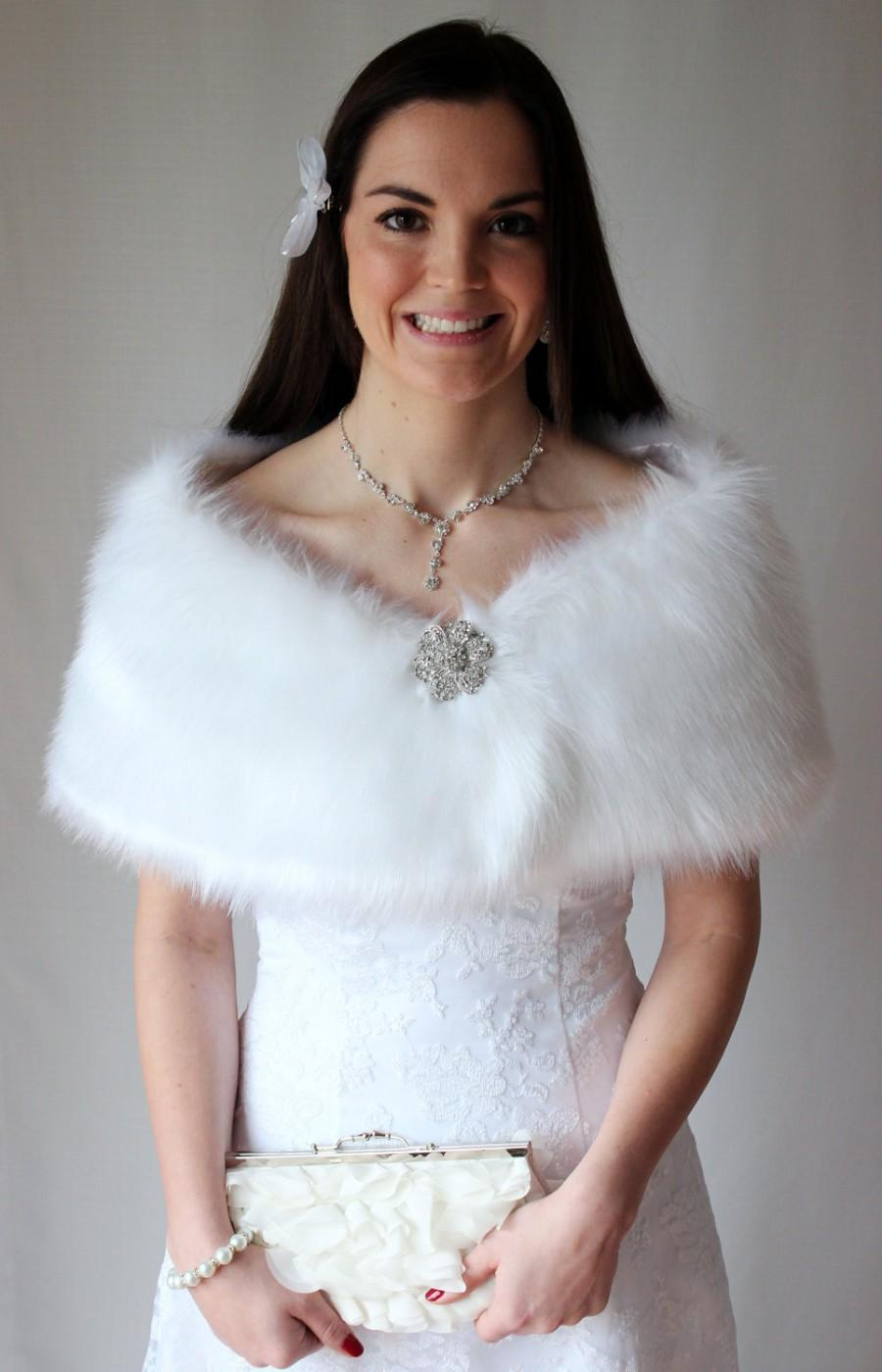 White Faux Fur Wrap Bridal Shrug Stole Wedding Shawl